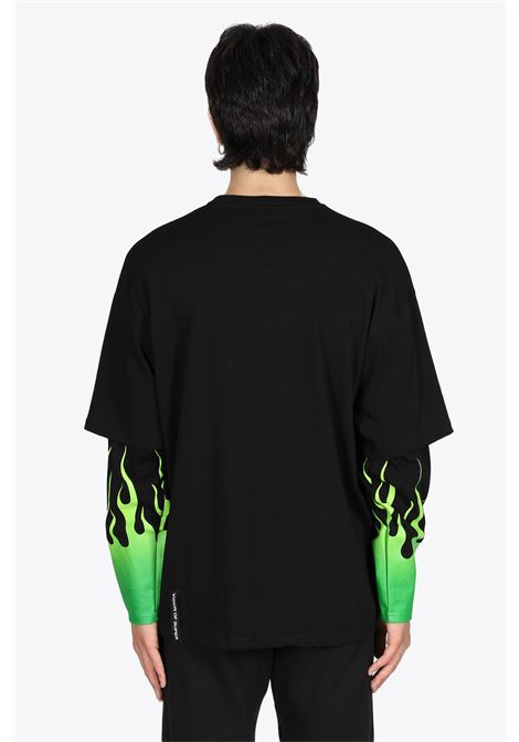 BLACK COTTON DOUBLE TEE WITH GREEN FLAMES VISION OF SUPER | 8 | VOS/BLONGGRSFU COTTON01