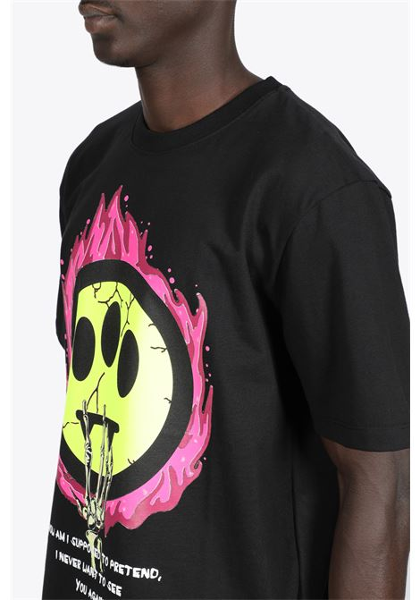 BLACK COTTON T-SHIRT WITH SMILE AND FLAME BARROW | 8 | 029138110