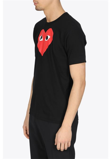 T-SHIRT RED HEART PRINT COMME DES GARCONS PLAY | 8 | P1T112BLACK