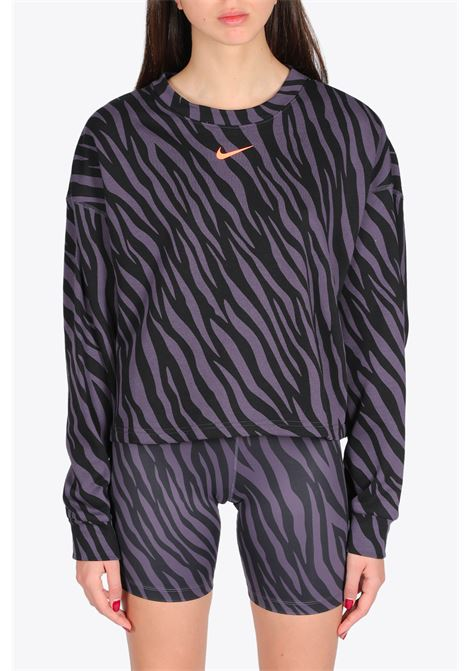 CROPPED ZEBRA SWEATSHIRT NIKE | -108764232 | DC6898-573PURPLE/BLACK