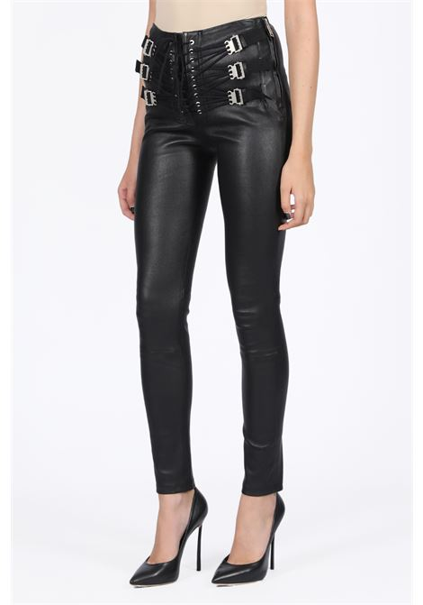 LEATHER PANT WITH LACE UP CLOSURE BEN TAVERNITI - UNRAVEL PROJECT | 5032243 | UWJB021E19007001 PLONGE TRIPLE LACE UP L1000