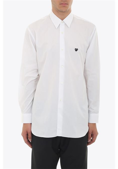CAMICIA PATCH CUORE NERO COMME DES GARCONS PLAY | 6 | P1B014 PLAY SHIRTWHITE