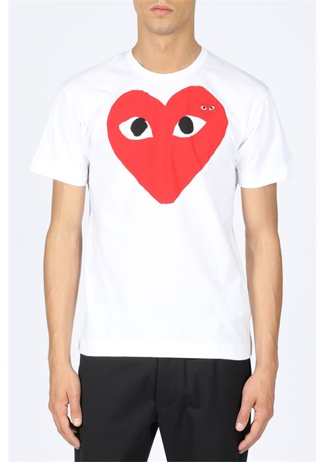 T-SHIRT RED HEART PRINT COMME DES GARCONS PLAY | 8 | P1T026 PLAY T-SHIRTWHITE