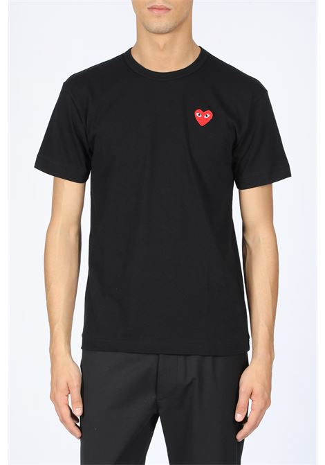 T-SHIRT RED HEART PATCH COMME DES GARCONS PLAY | 8 | P1T108 PLAY T-SHIRTBLACK