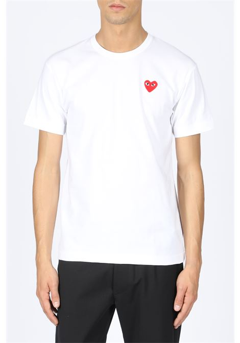 T-SHIRT RED HEART PATCH COMME DES GARCONS PLAY | 8 | P1T108 PLAY T-SHIRTWHITE