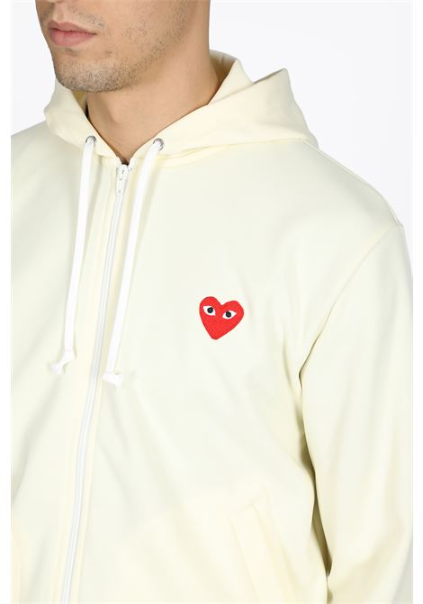 zipped hoodie with red heart patch COMME DES GARCONS PLAY | -108764232 | P1T172 PLAY ZIP HOODED SWEATSHIRTIVORY