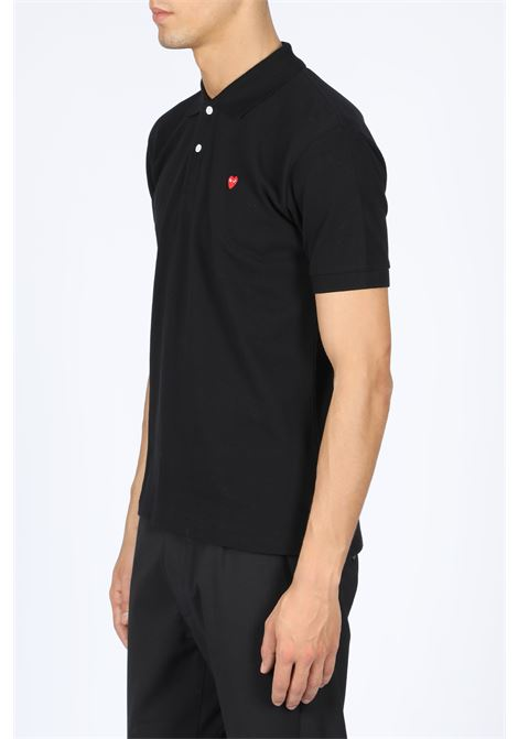 POLO SHIRT RED HEART PATCH COMME DES GARCONS PLAY | 2 | P1T204 PLAY POLO SHIRTBLACK