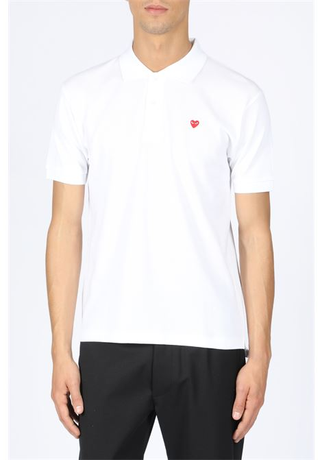 POLO SHIRT RED HEART PATCH COMME DES GARCONS PLAY | 2 | P1T204 PLAY POLO SHIRTWHITE