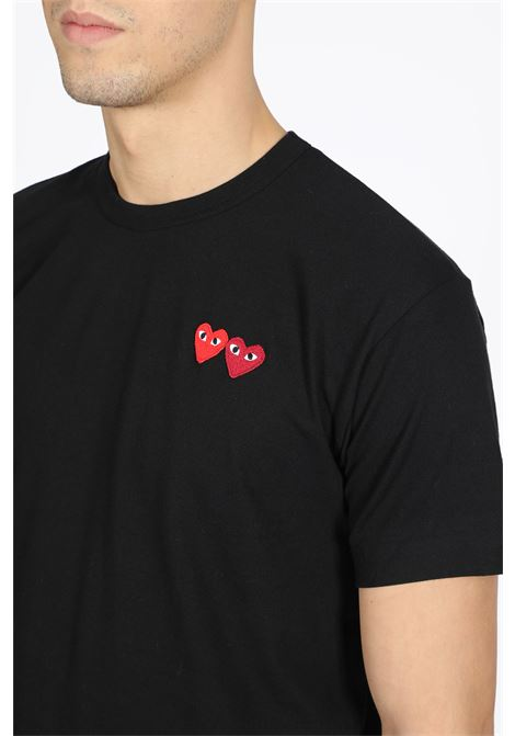 t-shirt with double red heart patch COMME DES GARCONS PLAY | 8 | P1T226 PLAY T-SHIRTBLACK