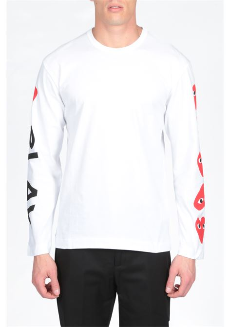 LONG SLEEVES T-SHIRT LOGO PRINT COMME DES GARCONS PLAY | 8 | P1T262 MENS T-SHIRTWHITE
