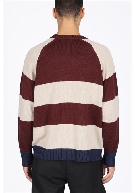 STRIPED SWEATER WITH LOGO DROLE DE MONSIEUR | -1384759495 | FW19-MINSK STRIPED CREWNECK SWEATERBURGUNDY