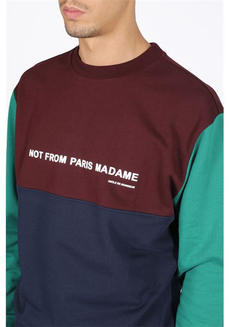 NOT FROM PARIS MADAME PATCHWORK SWEATSHIRT DROLE DE MONSIEUR | -108764232 | FW19-NAGOYA PANELED SLOGAN SWEATSHIRTMULTICOLOR