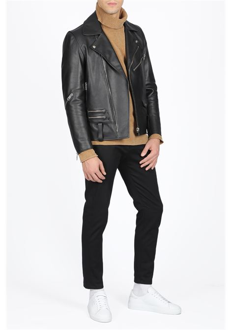 leather biker jacket PAURA | 3 | SARA LEATHER JACKETBLACK