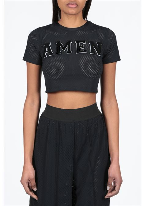 AMEN | 40 | AMS19231 CROPPED TOP IN MESH W EMBR009
