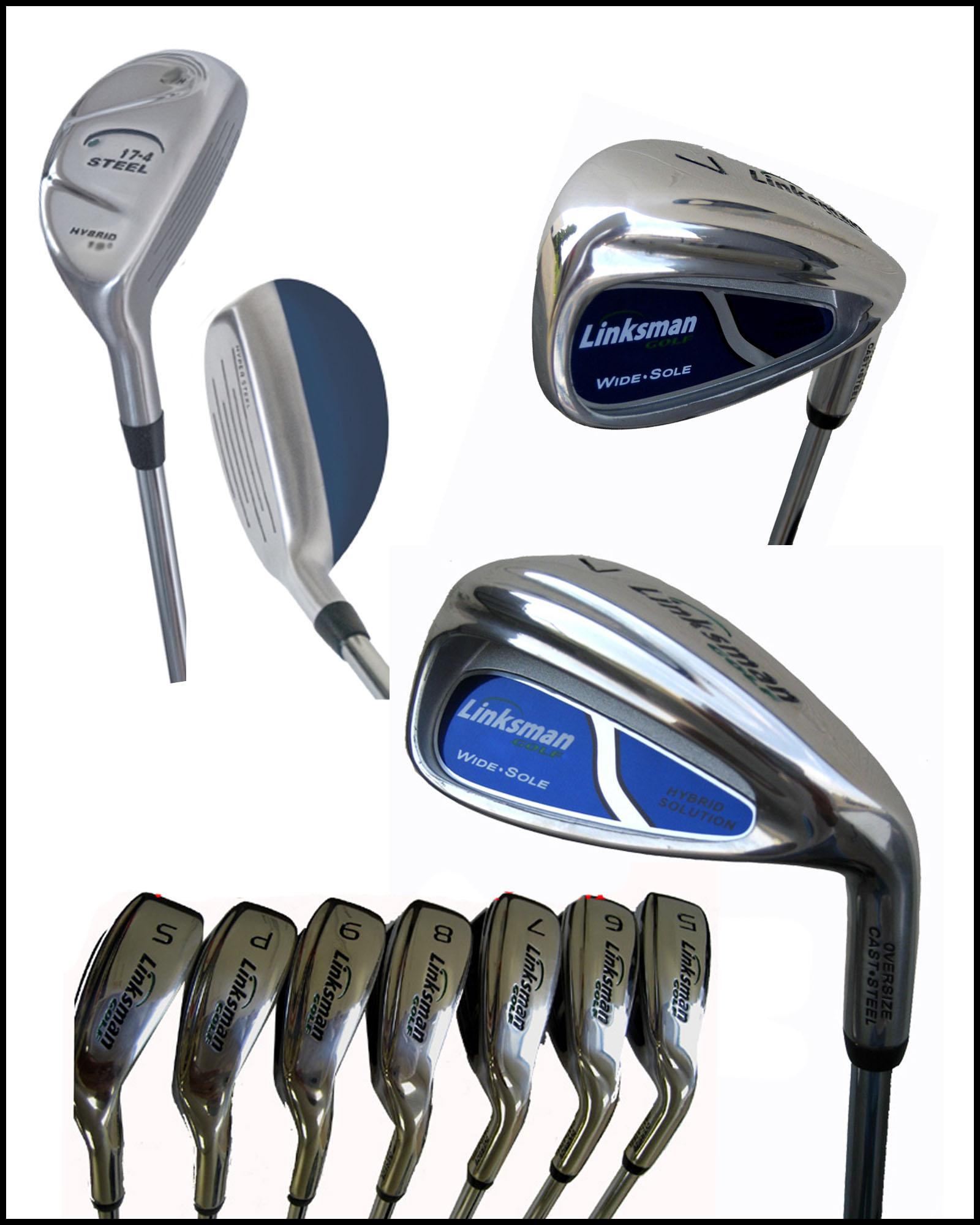 new linksman golf 1 tall mens golf club set hybrid irons. Black Bedroom Furniture Sets. Home Design Ideas