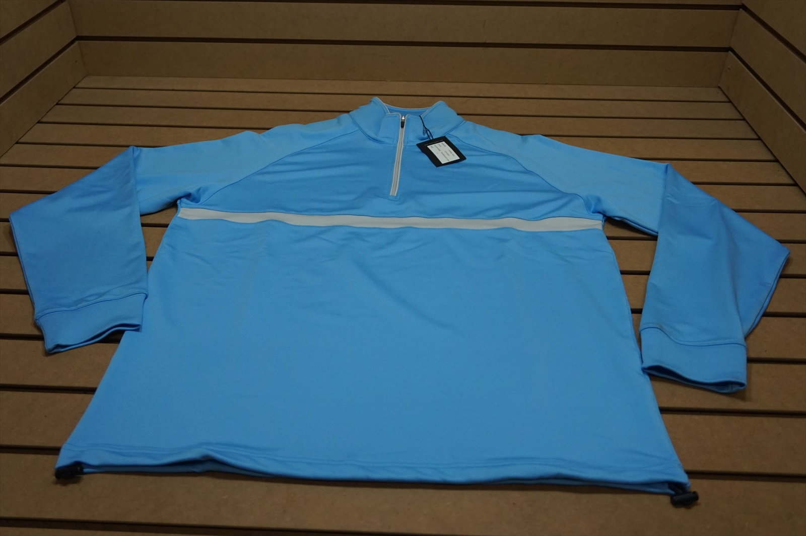 e351ffc01fa NEW Dunning Golf 1 4 Zip Chest Stripe Pullover Size Large Light Blue Grey