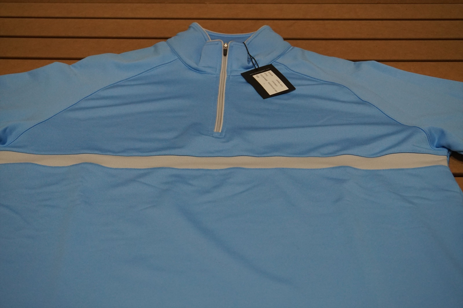 c1e5506cf2a NEW Dunning Golf 1 4 Zip Chest Stripe Pullover Size Large Light Blue Grey  6c 2 2 of 3 See More