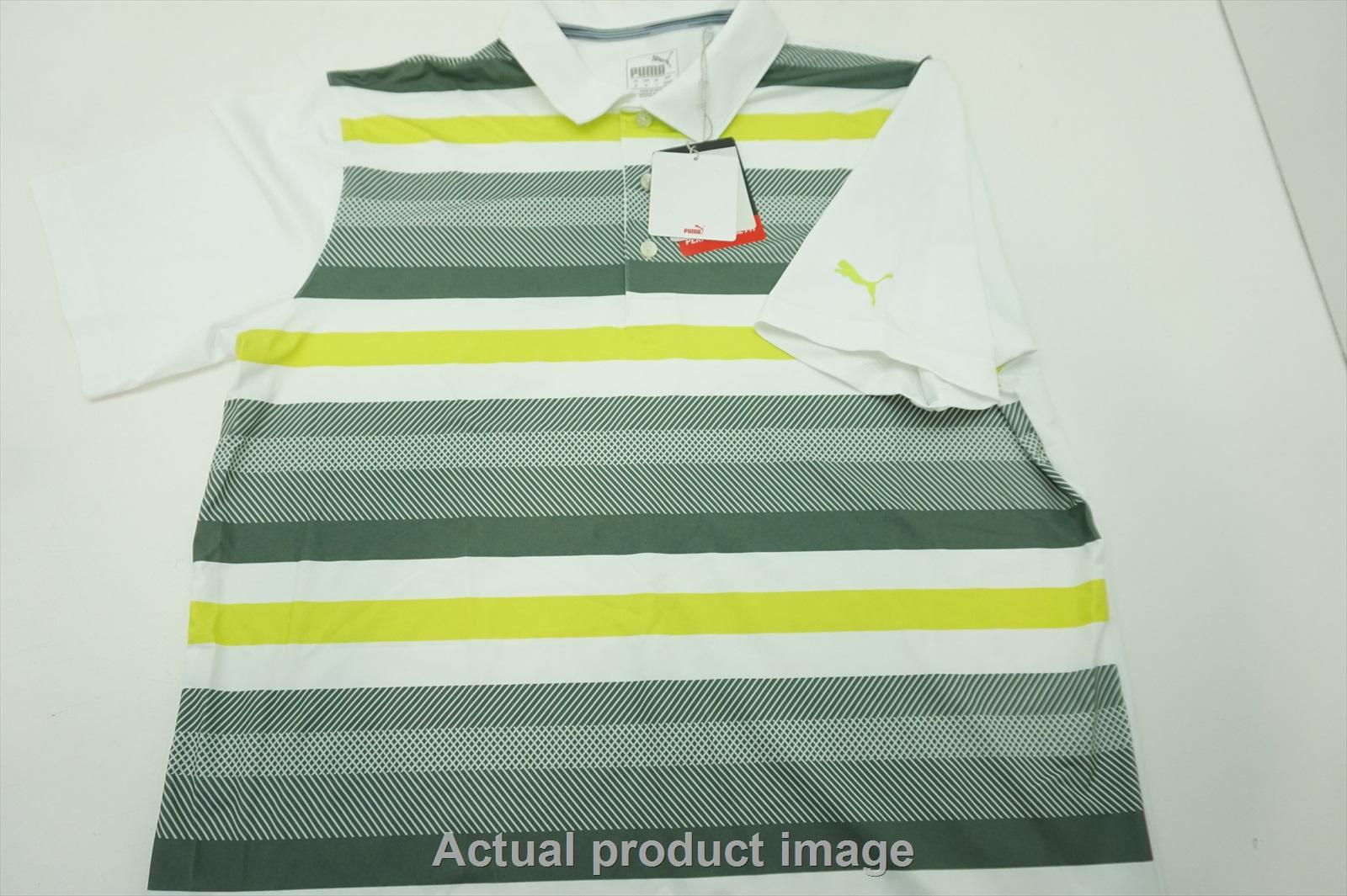 a55e1c5e2e Details about NEW Puma Golf Turf Stripe Polo Mens Size Medium Bright  Wht/Laurel 576923 04 204h