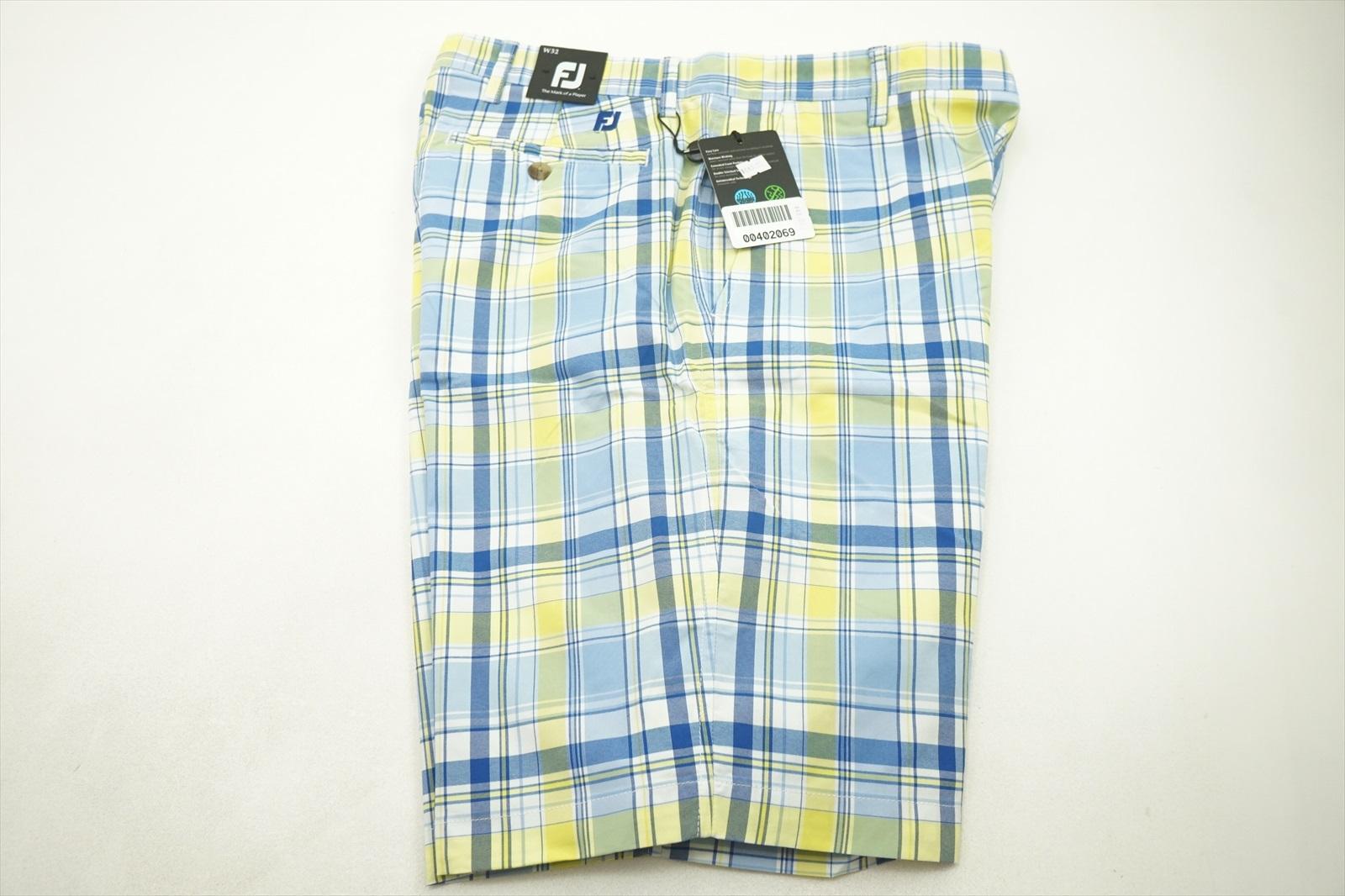 291d3950b0032 New FootJoy Golf Madras Plaid Shorts Mens Size 32 White/Blue/Yellow ...