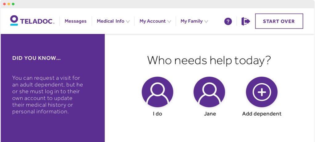 screenshot of the teladoc secure logged in member experience where a user can select which member on their account needs care