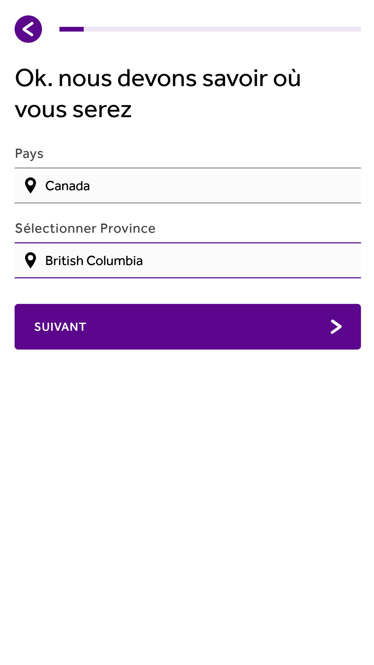 App screen where the user selects what province they will be located in at the time of the requested doctor visit.