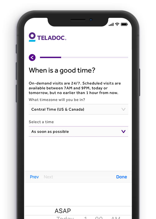 Teladoc App Screen showing how easy it is to request a general medical visit and select a convenient time that works for you