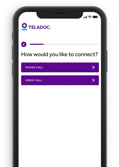 Teladoc App Screen showing how you can connect to a doctor by phone or by video
