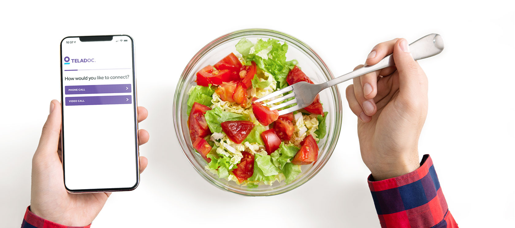 Person eating a salad and using the Teladoc app to schedule a visit