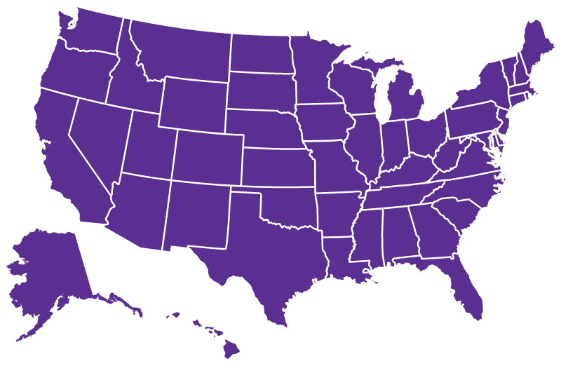 Teladoc coverage in all 50 states shown on a map