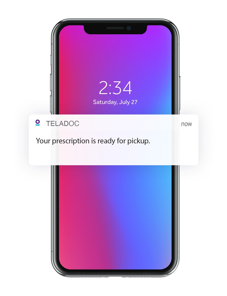 Teladoc push notification showing prescription ready for pickup on a mobile phone.