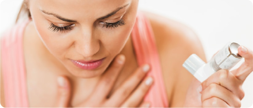 woman suffering from asthma