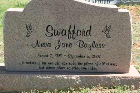 SWAFFORD, NEVA JANE BAYLESS - Bledsoe County, Tennessee | NEVA JANE BAYLESS SWAFFORD - Tennessee Gravestone Photos