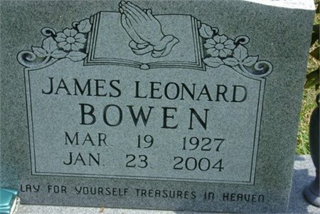 BOWEN, JAMES LEONARD - Cannon County, Tennessee | JAMES LEONARD BOWEN - Tennessee Gravestone Photos