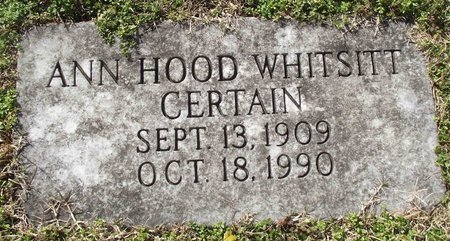 HOOD CERTAIN, ANN LEE - Davidson County, Tennessee   ANN LEE HOOD CERTAIN - Tennessee Gravestone Photos