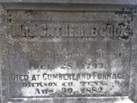 COOK, CATHERINE - Davidson County, Tennessee | CATHERINE COOK - Tennessee Gravestone Photos