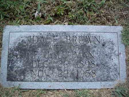 BROWN LEHMAN, IDA F - Knox County, Tennessee   IDA F BROWN LEHMAN - Tennessee Gravestone Photos