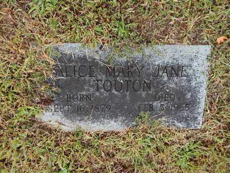 TOUTON, ALICE MARY JANE - Knox County, Tennessee | ALICE MARY JANE TOUTON - Tennessee Gravestone Photos