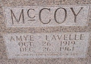 LAVELLE MCCOY, AMYE - McNairy County, Tennessee | AMYE LAVELLE MCCOY - Tennessee Gravestone Photos