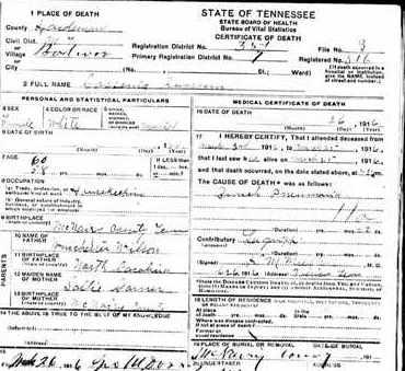 RUSSOM, CASSENI (DEATH CERTIFICATE) - McNairy County, Tennessee | CASSENI (DEATH CERTIFICATE) RUSSOM - Tennessee Gravestone Photos