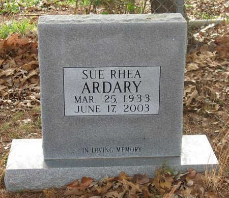 ARDARY, SUE RHEA - Putnam County, Tennessee | SUE RHEA ARDARY - Tennessee Gravestone Photos