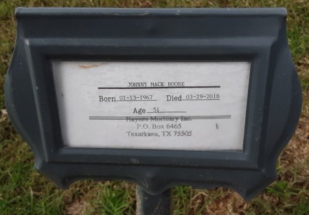 BOONE, JOHNNY MACK (FHM) - Bowie County, Texas | JOHNNY MACK (FHM) BOONE - Texas Gravestone Photos