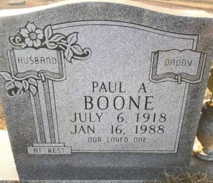 BOONE (VETERAN WWII), PAUL A - Bowie County, Texas   PAUL A BOONE (VETERAN WWII) - Texas Gravestone Photos