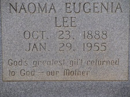 LEE, NAOMA EUGENIA (CLOSEUP) - Cass County, Texas | NAOMA EUGENIA (CLOSEUP) LEE - Texas Gravestone Photos