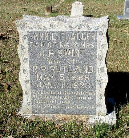 RUTLAND, FANNIE FLADGER  - Cass County, Texas | FANNIE FLADGER  RUTLAND - Texas Gravestone Photos