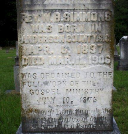 SIMMONS, W. B., REV (CLOSE UP) - Cass County, Texas | W. B., REV (CLOSE UP) SIMMONS - Texas Gravestone Photos