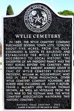*HISTORIC TX CEMETERY MARKER, WYLIE CEMETERY - Collin County, Texas | WYLIE CEMETERY *HISTORIC TX CEMETERY MARKER - Texas Gravestone Photos