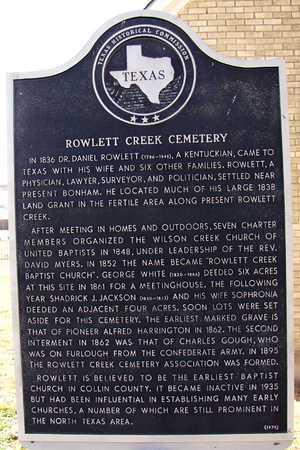 *THC MARKER, ROWLETT CREEK CEMETERY - Collin County, Texas | ROWLETT CREEK CEMETERY *THC MARKER - Texas Gravestone Photos