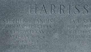 HARRISS, STEPHEN FRANCIS - Collin County, Texas | STEPHEN FRANCIS HARRISS - Texas Gravestone Photos