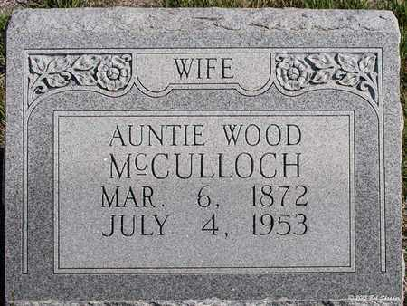 MCCULLOCH, AUNTIE WOOD - Eastland County, Texas | AUNTIE WOOD MCCULLOCH - Texas Gravestone Photos