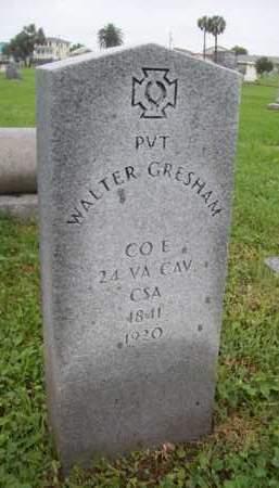 GRESHAM {VETERAN  CSA}, WALTER - Galveston County, Texas   WALTER GRESHAM {VETERAN  CSA} - Texas Gravestone Photos